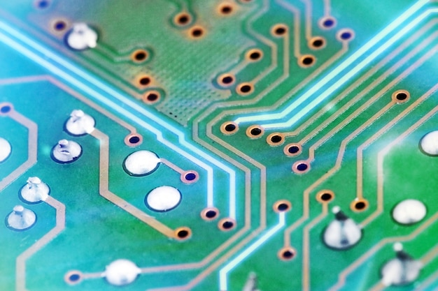 Close up of electronic circuit board background. computer, hardware or technology concept.