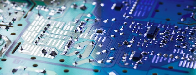 Close-up of electronic circuit board with processor. electronic computer hardware technology. tech science.
