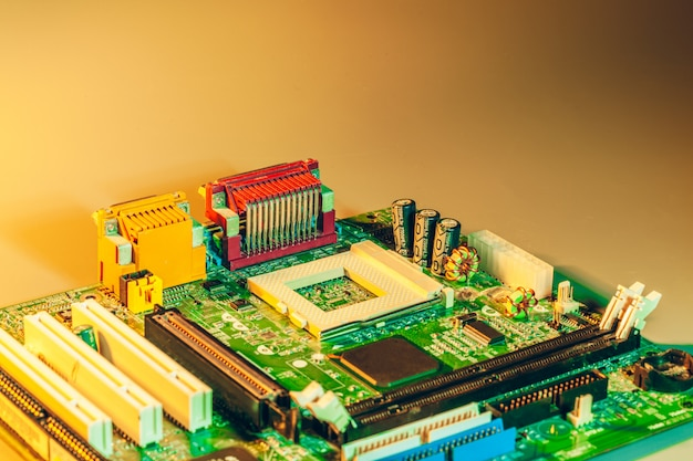 Close up of a electronic circuit board with processor