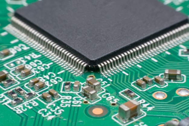 Close up electronic component on printed circuit board,