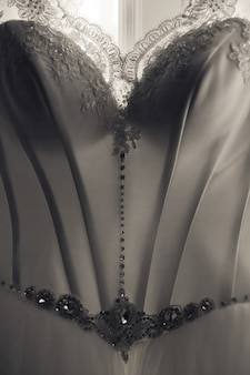 Close-up of elegant corset of wedding dress