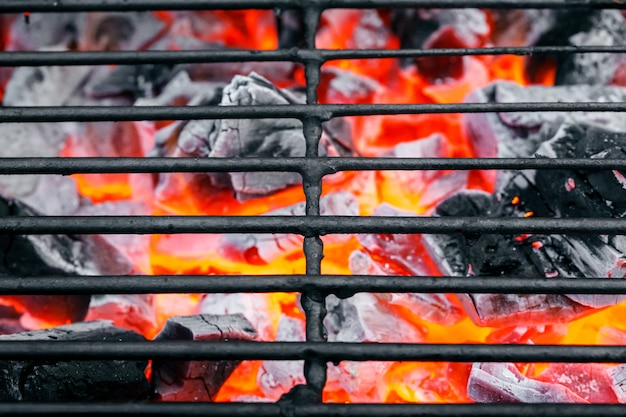 Close up empty dirty charcoal grill