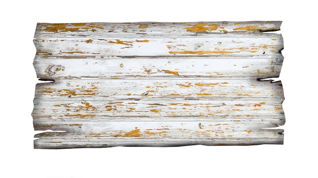 Close up of an empty wooden sign on white