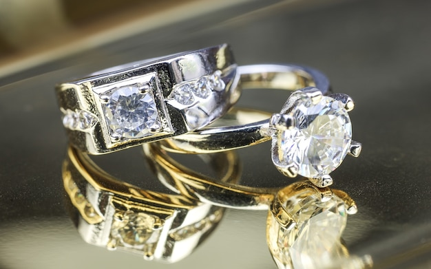 Close up of engagement diamond ring  love and wedding concept  soft and selective focus
