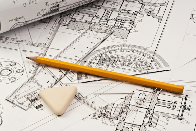 Close up of engineering drawing