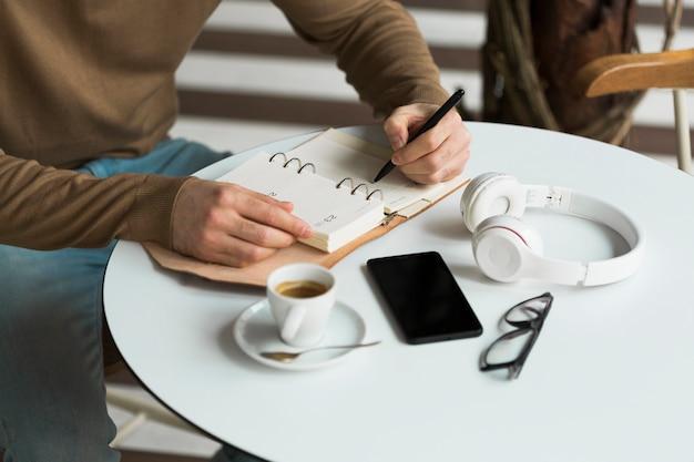 Close-up entrepreneur working