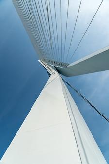 Close up of erasmus bridge in rotterdam
