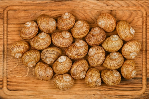 Close up of escargot land snail shells on brown oak wood cutting board, elevated top view, directly above