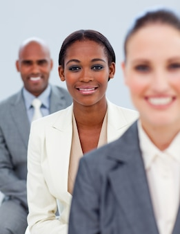 Close-up of an ethnic manager and her team