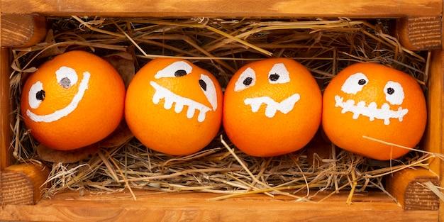 Close-up evil halloween pumpkins