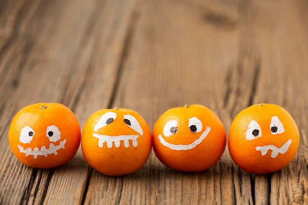 Close-up evil pumpkins for halloween