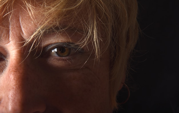 Close up of a eye of middle aged woman