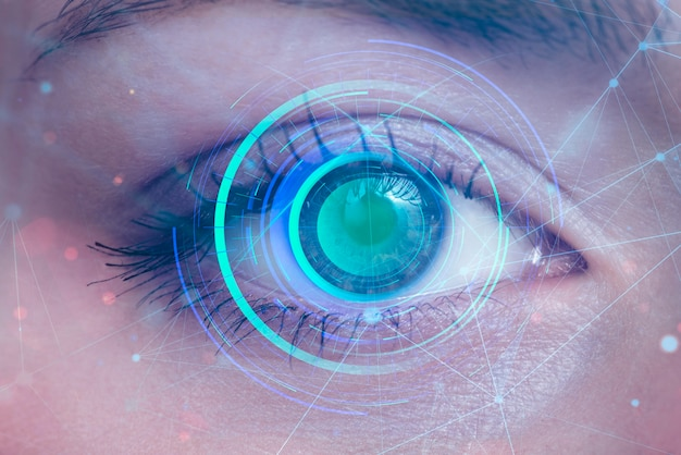 Primo piano di scansione degli occhi