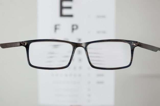 Close-up of eyeglasses for vision, pointing at table to check view