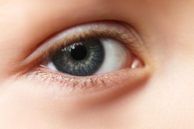 Глаза крупным планом, зрачок синий, серый