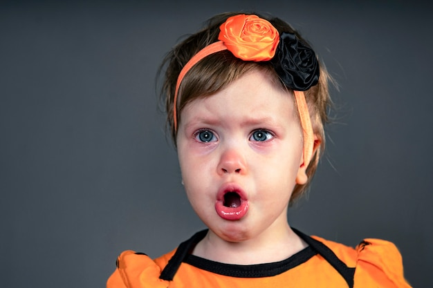 Close-up face of a child, emotion sad of crying children in tears, in the studio on a black background. girl screams