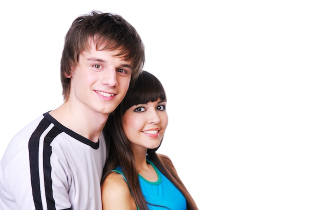 Close-up face of two young beautiful couple