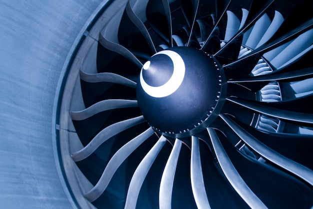 Close up of fan engine and turbine blades of modern civil passenger airplane