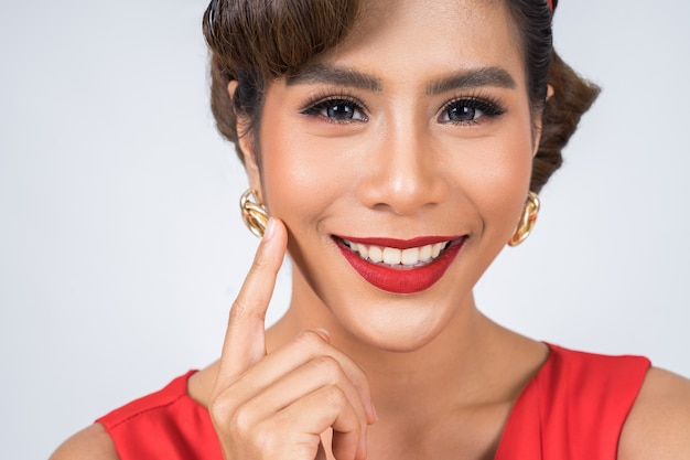 Close up fashion woman red lips big smile
