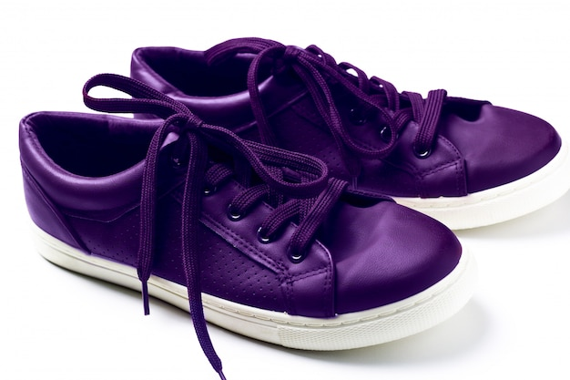 Close up fashionable sneakers  ultra violet color (color of 2018 pantone)