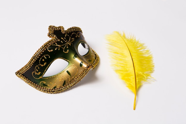 Close-up feather and mask