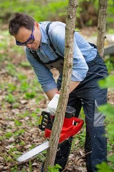 フォレスト内のチェーンソーで若い木を挽く作業服でフェラーを閉じる