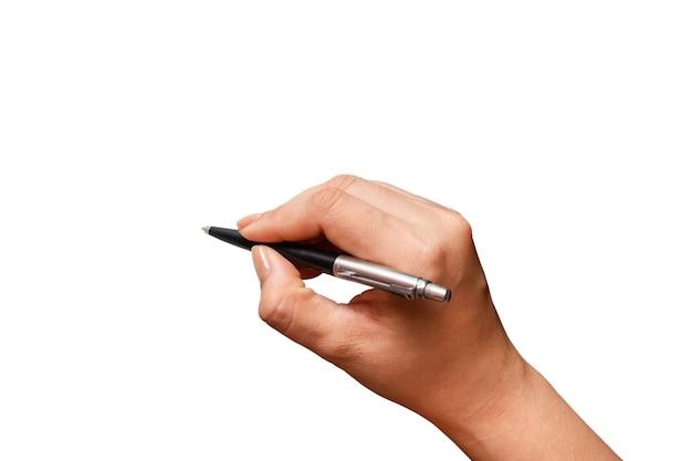 クローズアップ女性の手書きのペン、手に黒いペン、白い背景で隔離。ファイルにはクリッピングパスが含まれているので作業が簡単です。