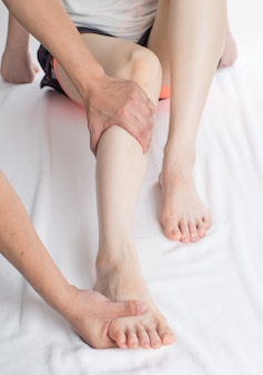 Close-up of female hands doing foot massage