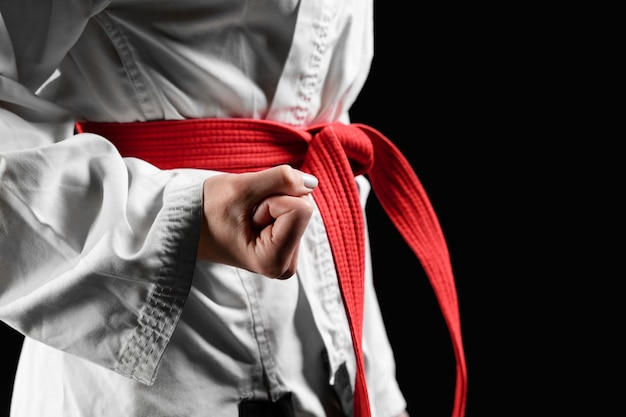 Close-up of female karate fighter