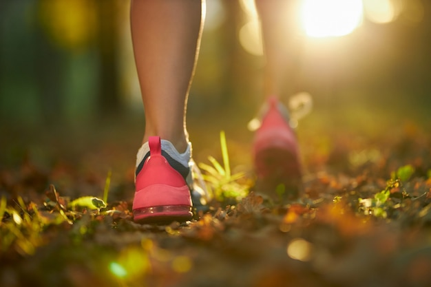 Close up of female legs in sport sneakers jogging at park