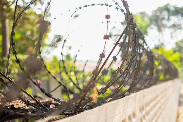 Close-up fence with barbed wire against a blurred background