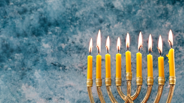 Close-up festive candleholder for hanukkah