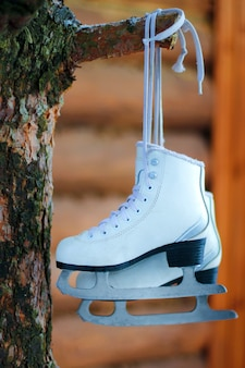 Close-up of figure skates hanging on a tree branch. active holidays with the family in winter.