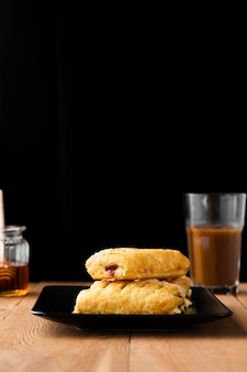 Close-up filled breakfast pastries