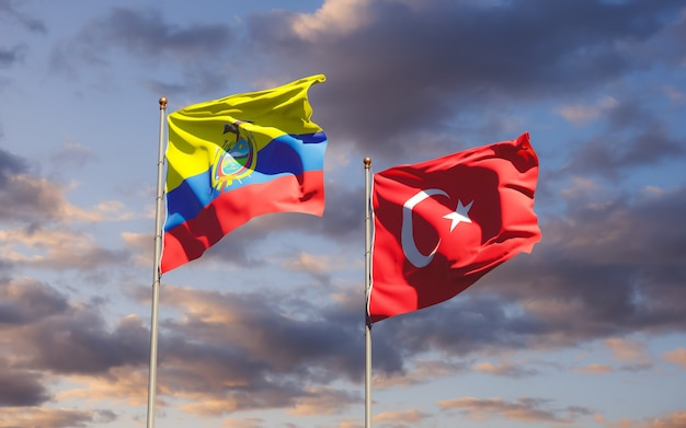 Close up on flags of ecuador and turkey