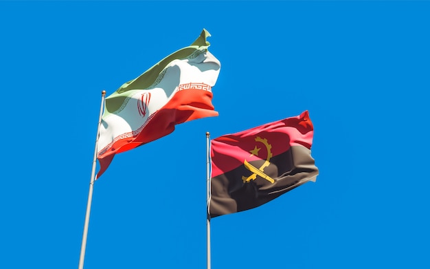 Close up on flags of iran and angola