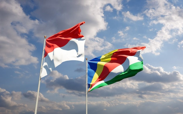 Close up on flags of nigeria and seychelles
