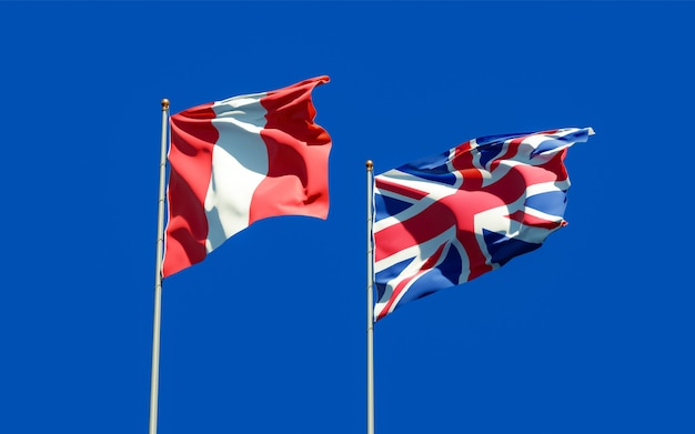 Close up on flags of peru and uk british