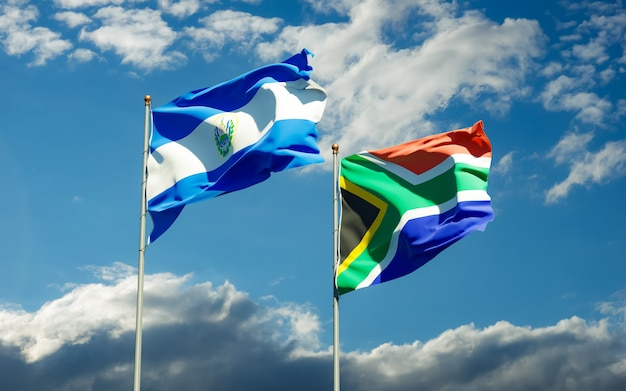 Close up on flags of sar african and el salvador