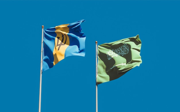 Close up on flags of saudi arabia and barbados