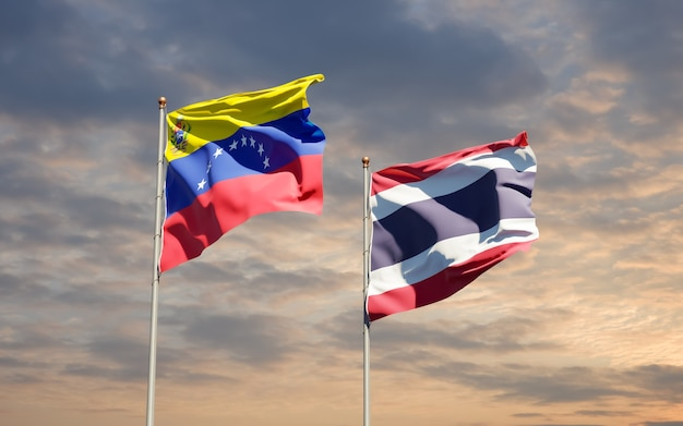 Close up on flags of venezuela and thailand