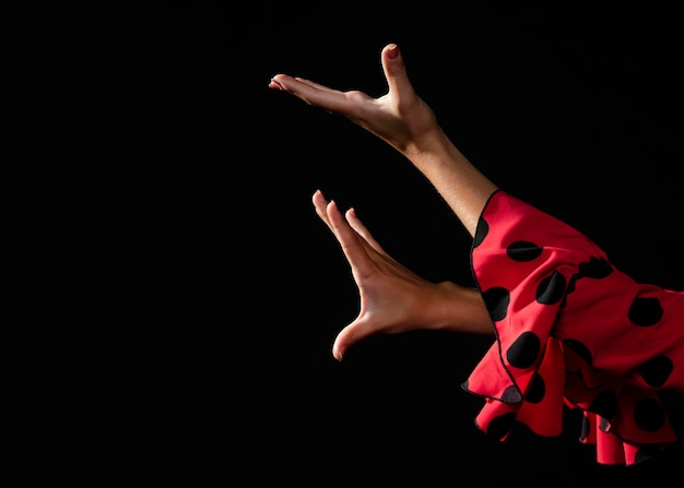 Close-up flamenca moving hands on black background