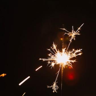 Close-up flaming sarkler