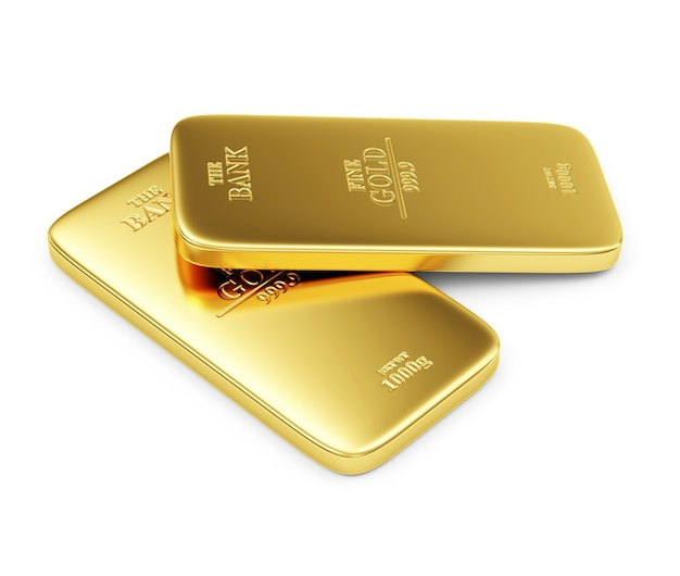 Close up on flat golden bars isolated
