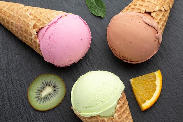 Close-up flavoured ice cream on cones