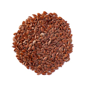 Close-up of flax seeds isolated on white background. top view, food