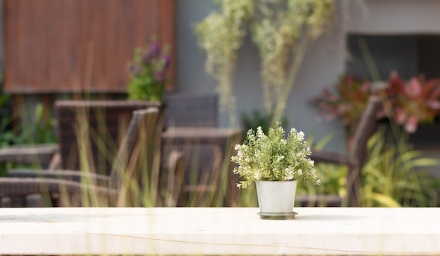 Close - up of flower pot put on outdoor table