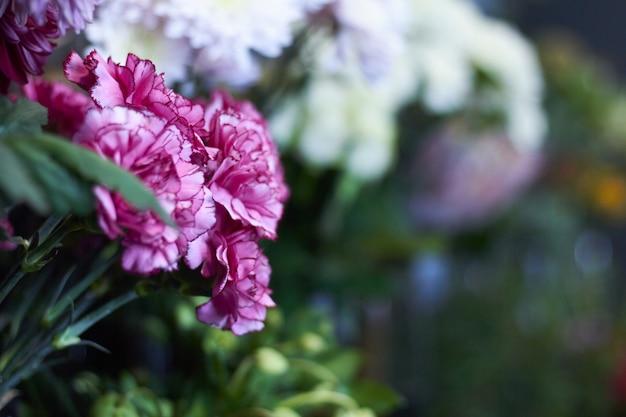 エキゾチックな花のクローズアップフラワーショップウィンドウ