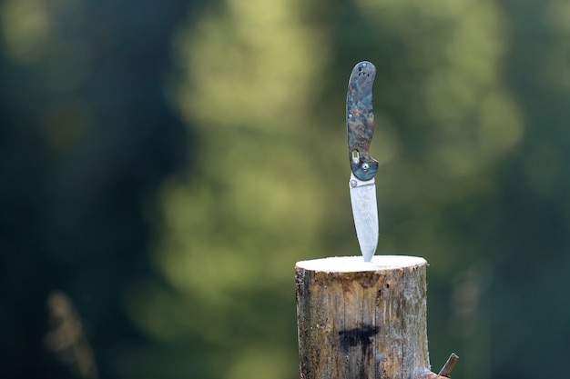 Close-up of folding pocket knife with plastic handle stuck vertically in tree stump outdoors
