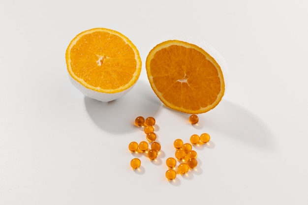 Close up on food complements with orange